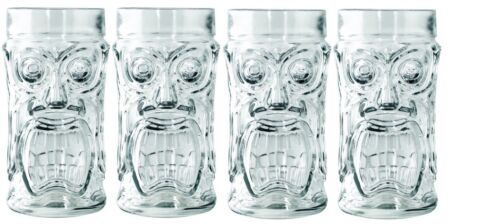 Set of 4 Anchor Hocking Glass Screaming Tiki Glasses