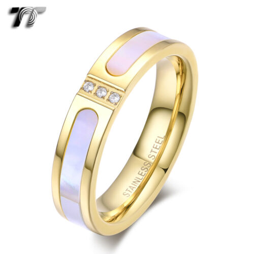TT 14K Gold GP 5mm S.Steel Mother Pearl Wedding Band Ring With CZ (R376J) NEW