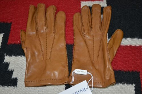 Ralph Lauren Purple Label Made in Italy 100% Leather Brown Gloves