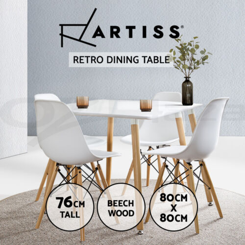 Artiss 80x80CM Replica Eames DSW Cafe Retro Dining Table Kitchen Wooden White <br/> Best Seller! Premium Quality, Fast Delivery, Buy It Now