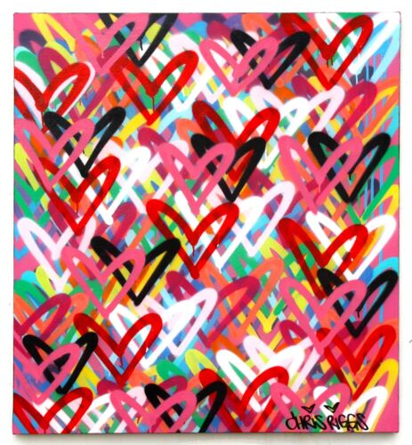 CHRIS RIGGS HEARTS HEART PAINTING 39x36 INCHES SIGNED ORIGINAL STREET MODERN NYC