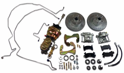 1955 1956 1957 Chevrolet front power disc brake kit conversion drilled slotted