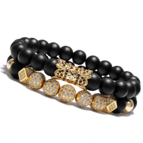 New Luxury Micro Pave CZ Ball Crown Charm Bracelet Men Jewelry Matte Agate Bead