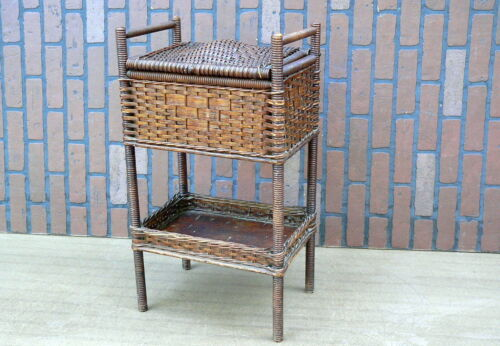 c1900 Arts & Crafts Heywood Wakefield Wicker Rattan Sewing Box Stand basket