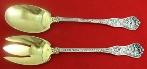 """OLYMPIAN by Tiffany Sterling Silver Long Handled Salad set, 9 3/4"""", Gold washed."""