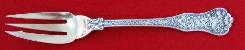 """OLYMPIAN by Tiffany Sterling Silver Pastry Fork, 3-Tine, Gold Washed, 6 1/8"""""""