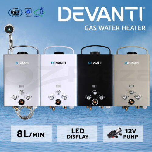 Devanti Gas Hot Water Heater Portable Shower Camping LPG Outdoor Instant Pump <br/> Aust Standard / Deluxe Showerhead / Safe & Easy to Use!