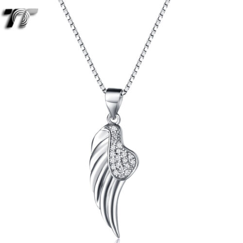 TT RHODIUM 925 Sterling Silver Angel Wing Pendant Necklace (925N07) NEW