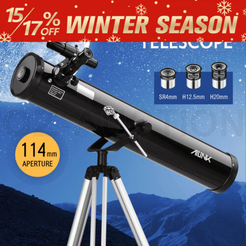 Astronomical Telescope 114mm Aperture 675x Zoom HD High Resolution w/3 Eyepieces