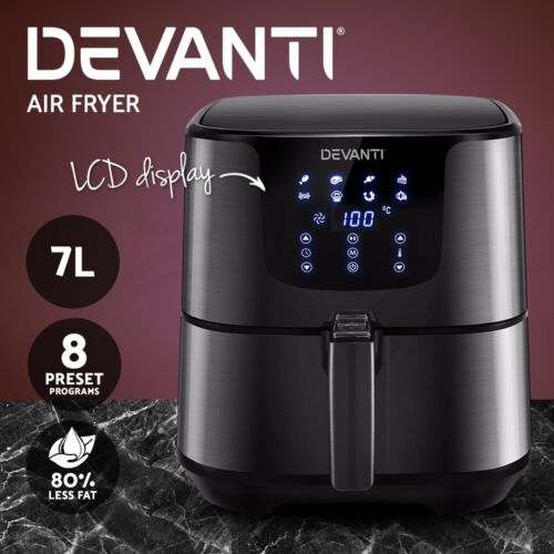 Devanti Air Fryer 7L LCD Fryers Oven Airfryer Healthy Cooker Oil Free Kitchen <br/> ✔7L Capacity ✔Stainless Steel ✔LCD Control ✔1700W