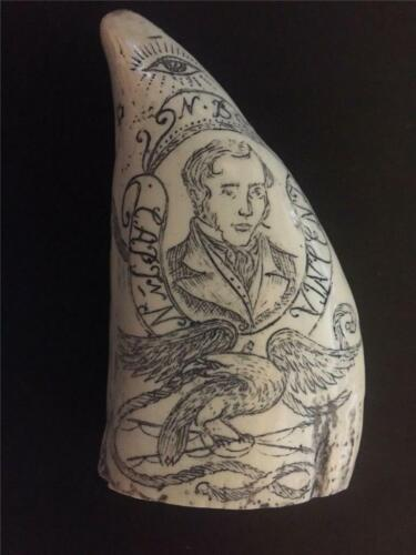 "SCRIMSHAW REPLICA TOOTH  "" STENROFJORD"" Captain  N B Vincent"