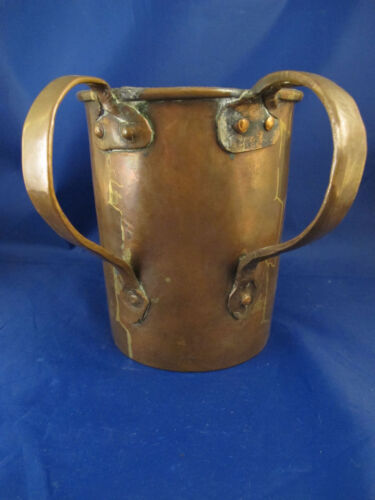 c1850 antique large hand made copper primitive Judaica hand washing Russian cup