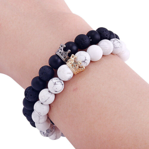 Couple His & Hers Distance Healing Bracelets White Black Bead Matching YinYang