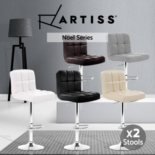Artiss Kitchen Bar Stools Gas Lift Stool Leather Chairs Barstools Swivel Metalx2 <br/> ✔Fast Dispatch✔SGS Tested Gas Lift✔Premium Leather
