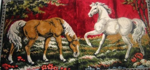 Vintage Tapestry Two Horses Brown & White Wall Hanging Italy Original
