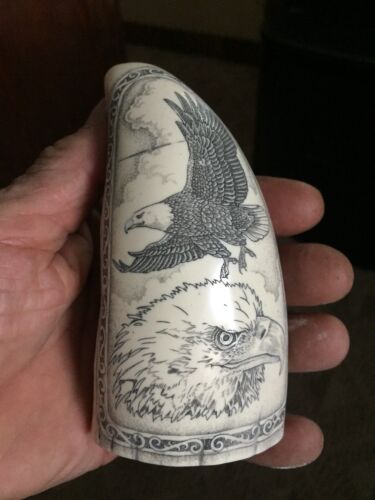"Scrimshaw Sperm Whale Tooth RESIN replica ""SOARING EAGLE"" A BEAUTIFUL piece"