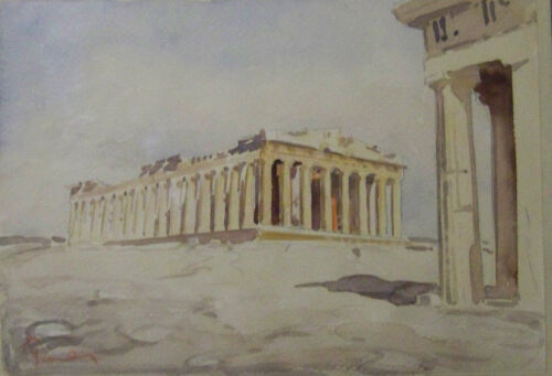 PARTHENON GREECE WATERCOLOR WASH PAINTING ORIGINAL ARTIST SIGNED GILDED FRAME