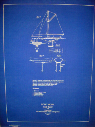 Vintage 1901 Sail Boat Pond Model Blueprint Plan Display 16x20  (199)
