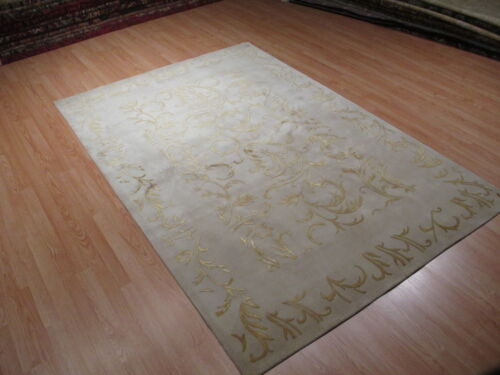6x8 Fine Tibetan Carved Allover-Pattern Handmade-knotted Wool/SILK Rug 582364