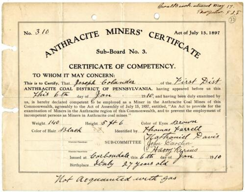 1910 Anthracite Coal Miner Certificate of Competency Carbondale Pennsylvania #5