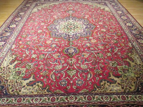10x13 CA 1940 AMAZING VERY UNIQUE VEGETABLE DYE HANDMADE-KNOTTED WOOL RUG 582650