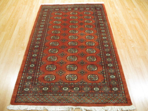 4x6 BOKHARA FINE GEOMETRIC ALLOVER-PATTERN HANDMADE-KNOTTED WOOL RUG 581421
