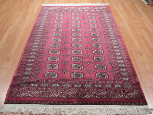 4x6 Bokhara FINE Geometric Allover-pattern Handmade-knotted Wool Rug 581390
