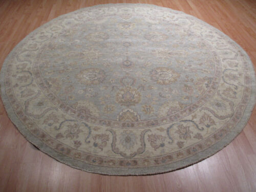 8' FEET Round 8x8 Muted Persian Vegetable Dye Handmade Knotted Wool Rug 582951