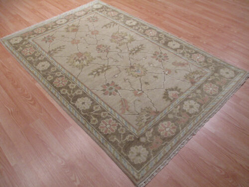 4x6 MUTED Oushak Vegetable Dye Allover-Pattern Hand-Knotted Wool RUG 581346