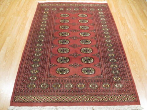 4x6 Bokhara FINE Geometric Allover-pattern Handmade-knotted Wool Rug 580608