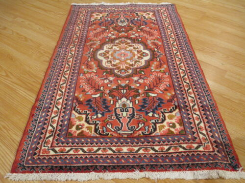 3x4 ESTATE CA 1960 AMAZING UNIQUE VEGETABLE DYE HANDMADE-KNOTTED WOOL RUG 583251