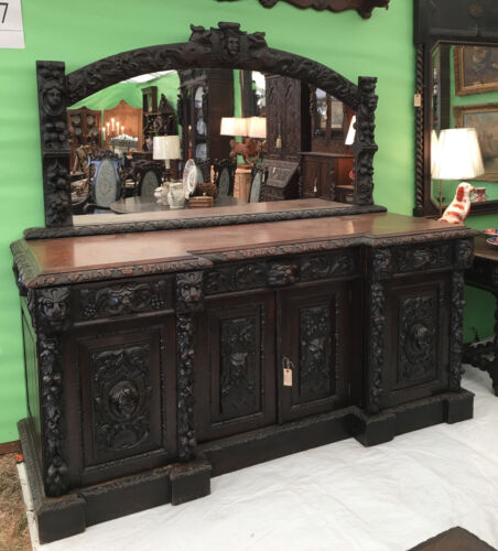 Antique French Carved Oak Renaissance Sideboard Hunt Cabinet Pier Mirror Gothic