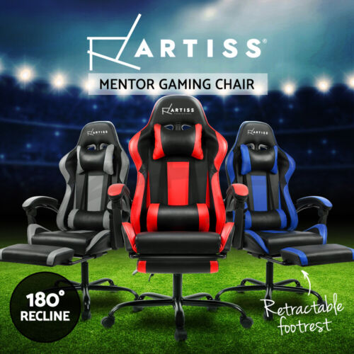 Artiss Gaming Chair Office Executive Computer Chairs Leather Racing Seat <br/> Retractable Footrest / 3-Yr Warranty / PU Leather