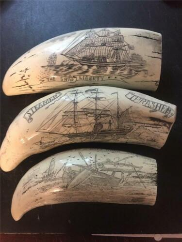 NEW LISTING SET OF THREE SCRIMSHAW WHALE TEETH LIMITED TIME LISTING !!