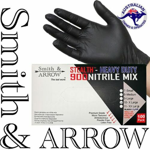 100 x INDUSTRIAL BLACK DISPOSABLE NITRILE GLOVES THICK RUBBER MEDICAL PROTECTION <br/> CHOOSE THICKNESS - HEAVY DUTY 5.5GR, OR LITE 3.5GR