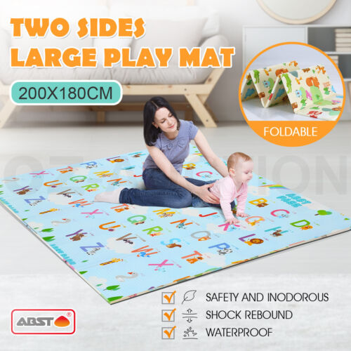 ABST 200X180CM Baby Play Mat Crawling Playmat Double Sides W/Animal & Alphabet