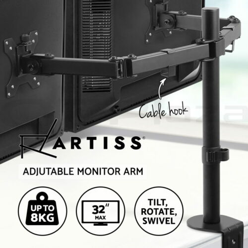 Artiss Monitor Arm Dual Stand Desk Mount 32'' HD LED TV Screen Holder Bracket