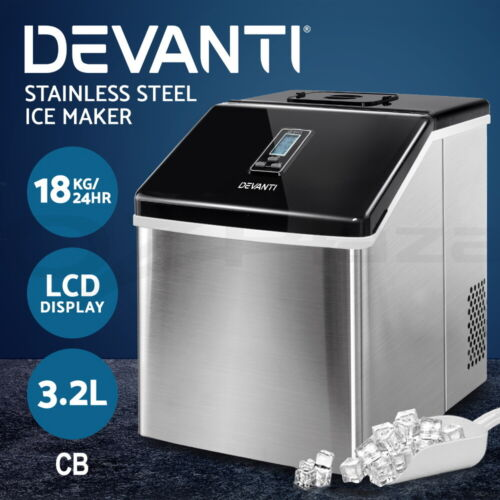 Devanti 3.2L Portable Ice Maker Commercial Ice Cube Machine Stainless Steel <br/> Stainless Steel / 24 Cubes / LCD Display / 18kg/24hr