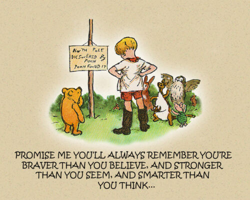 Winnie The Pooh And Christopher Robin Canvas Art Print 16 x 20