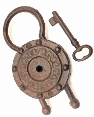 Padlock Key Vintage Cast Iron Reproduction Metal Rustic 8 1/2 x 4 inches New