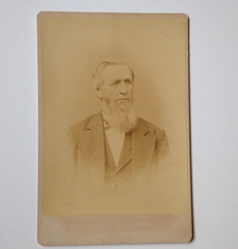 Cabinet Card Photo Little Falls NY Abbott Brothers Antique Photograph Older Man
