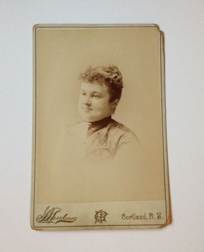Cabinet Card Photo Cortland NY G Pruden Antique Curly Hair Woman Photograph