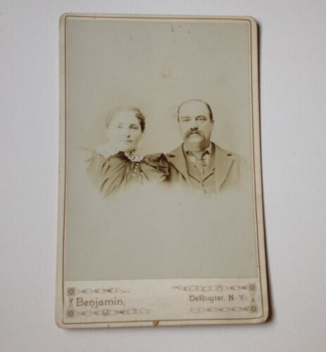 Cabinet Card Photo DeRuyter NY Young Couple Antique Benjamin Photograph