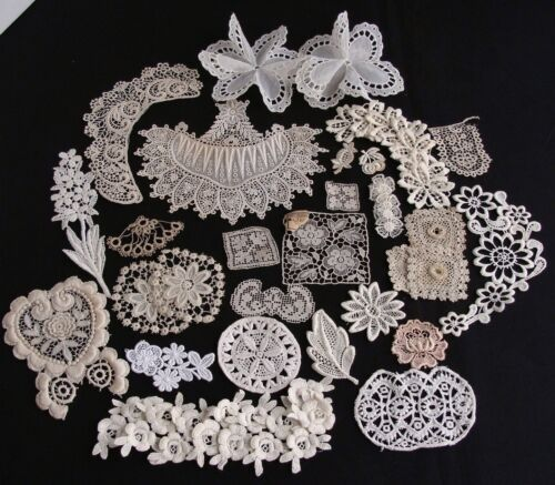 Antique Vtg Lot Lace Applique Trims Motifs Irish Crochet Schiffli Doll Craft
