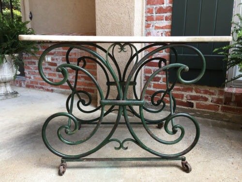 Antique French Pastry Baker's TABLE Scrolled Iron Marble Top Art Nouveau GREEN