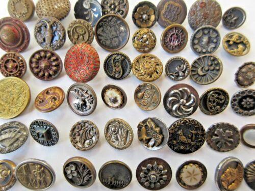 LARGE Lot of 50+ Antique~ Vtg Victorian Metal BUTTONS Cut Steels, Pictures++ (O)