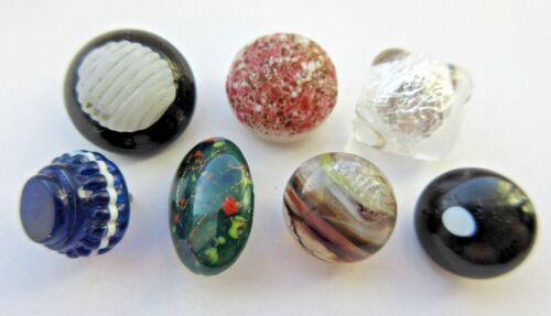 Special Lot of 7 Antique~ Vtg Victorian GLASS BUTTONS Swirl Back Charmstring (Q)