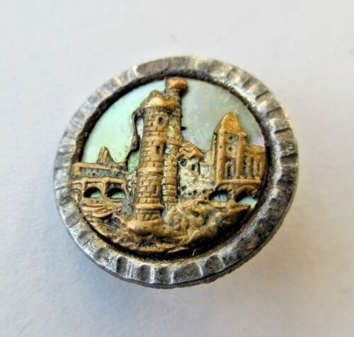 Beautiful Antique~ Vtg Victorian Steel Cup Metal Picture BUTTON Carved MOP (S)