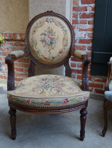 Antique French Carved Walnut Arm Chair Aubusson Tapestry Needlepoint Armchair
