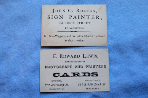Two Philadelphia Business cards; Photographer and Painter